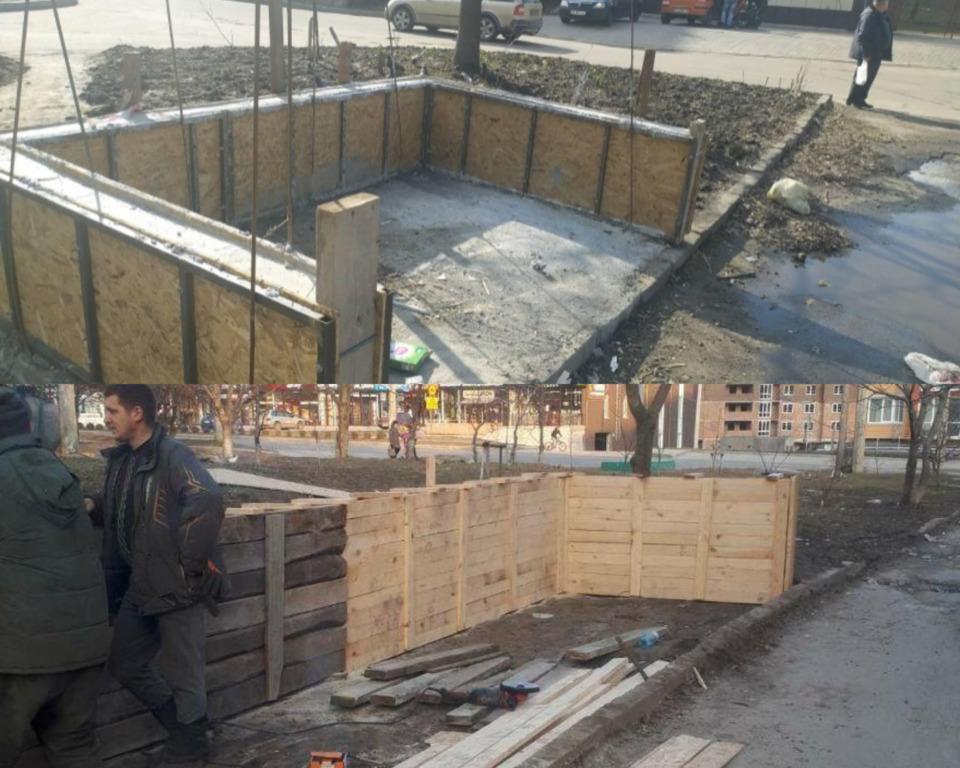Роботи із облаштування майданчиків для збору великогабаритного сміття на вул. Панаса Мирного, 21 та вул. Курчатова, 1А